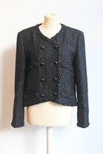 Chanel Glitter Tweed Black Jacket NEW relu-29