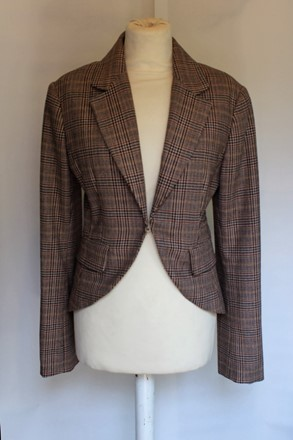 HM  Wool Blend Check Riding Jacket reslu-446