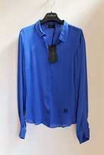 John Richmond Pure Silk Shirt NEW Blue reslu-464