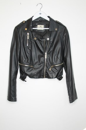 Queen Of Hearts Faux Leather Jacket Black Women orig022