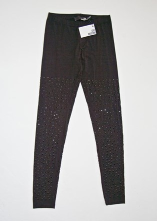 Moschino Leggings with black jet jewels relu-41