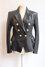 Balmain Leather Double Breasted Jacket balm-e112