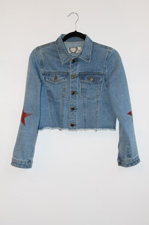 Boohoo Denim Jacket With Red Stars relu-237
