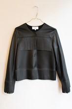 Reiss Fringe Black Leather Jacket reslu-559
