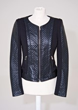 Yu and Me Paris Quilted Faux Leather and Stretch Fabric Jacket reslu-627