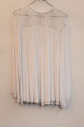Zara Cheesecloth Long Sleeve Boho Top White orig010