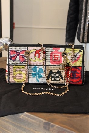 Chanel Limited Edition Tapestry Bag with Gold Chain Chanel_letb