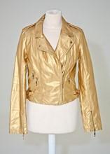 Parisian Gold Faux leather biker style jacket reslu-539