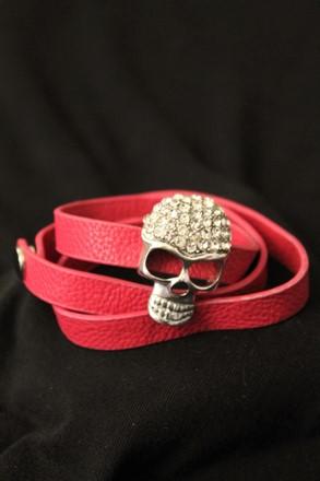 Diamond Skull Bracelet on Pink Leather Strap relu-272