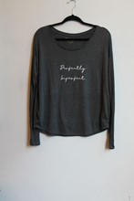 OM and AH Perfectly Imperfect Long Sleeve T Shirt Charcoal orig008