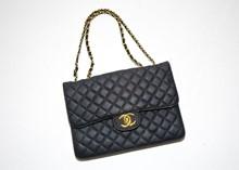 Large Chanel style flat black shoulder bag reslu-486