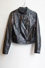 Atmosphere Faux Patent Leather Jacket relu-217