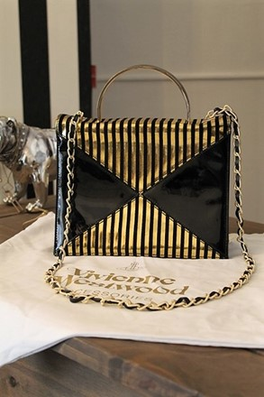 Vivienne Westwood Black & Gold Stripe Hand Bag vwe-s3