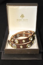 Barry Bott Leather and Jewel Double Cuff relu-226