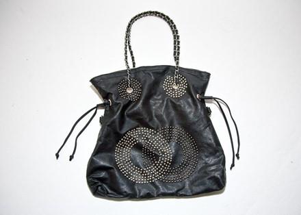 Pibitta Black PU Beach Bag with metallic detail reslu-545