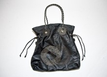 Pibitta Black PU Beach Bag with metallic detail reslu-545